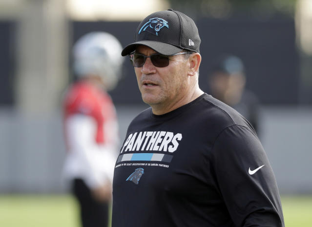 Carolina Panthers head coach Ron Rivera watches practice at the NFL football team's facility in Charlotte, N.C., Tuesday, May 22, 2018. While NFL owners are voting to approve the new Panthers owner in Atlanta, the team David Tepper is about to officially own takes to the field for the OTAs back in Charlotte with plenty of new faces.(AP Photo/Chuck Burton)