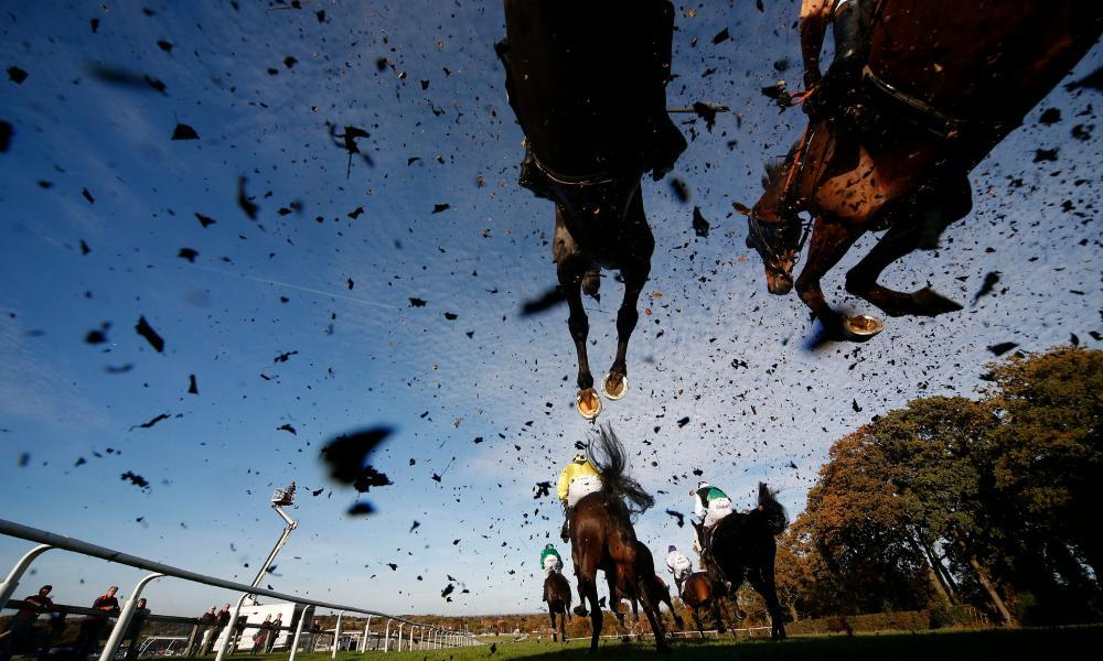 A general view as runners clear a fence at Plumpton, where racing takes place on Monday.