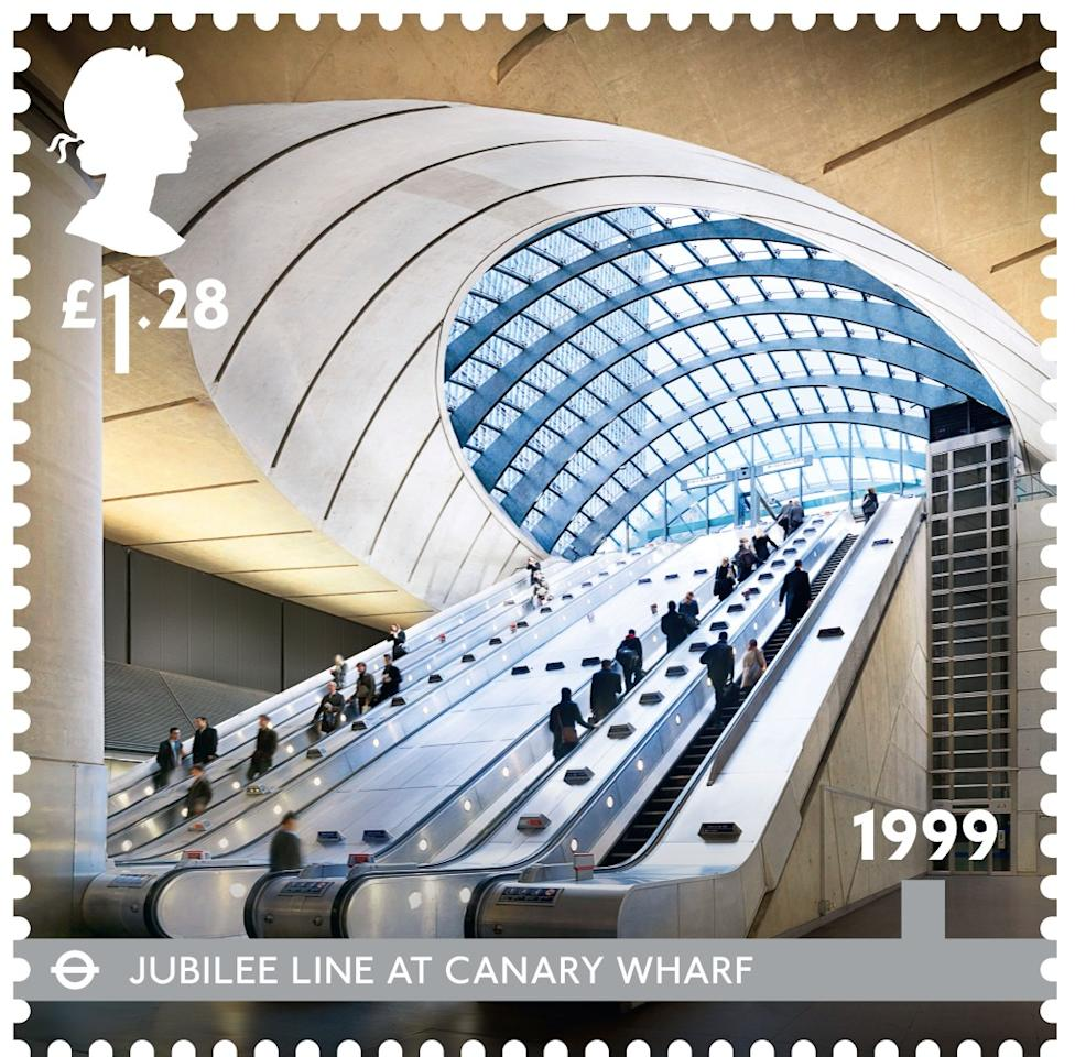The newest station on the Jubilee line, Canary Wharf, boasts an impressive design by Sir Norman Foster (Royal Mail)