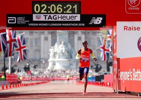 Athletics - London Marathon - London, Britain - April 22, 2018 Britain's Mo Farah finishes third in the men's elite race REUTERS/Paul Childs