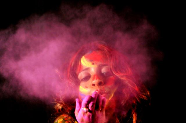 <p>An Indian girl celebrates Holi on Feb. 27, 2018 in Kolkata. The popular Hindu spring festival of colors is observed in India at the end of the winter season on the last full moon of the lunar month, and will be celebrated on March 1 this year. (Photo: Debajyoti Chakraborty/NurPhoto via Getty Images) </p>