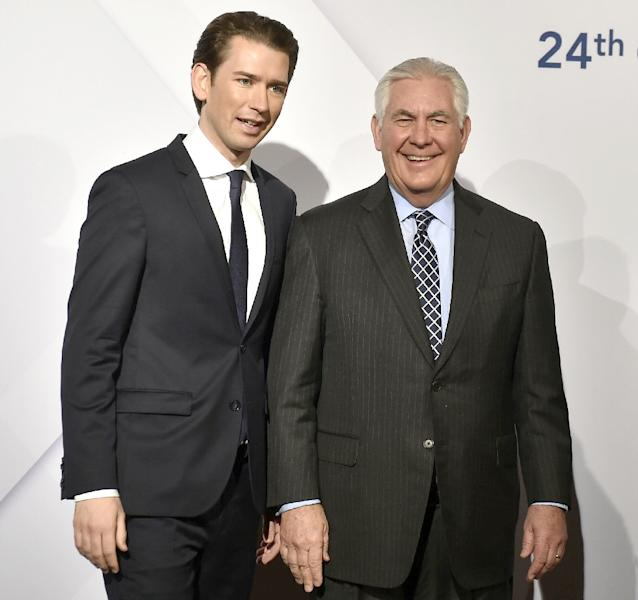 Austrian foreign minister and incoming chancellor Sebastian Kurz greets US Secretary of State Rex Tillerson at the start of the 24th OSCE Ministerial Council in Vienna (AFP Photo/HANS PUNZ)