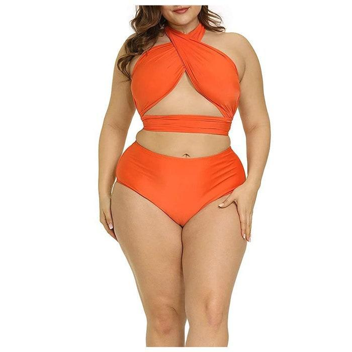"""The cut! The color! The weird tan lines will be well worth rocking this two-piece. $28, Amazon. <a href=""""https://www.amazon.com/Allegrace-Swimsuit-Bikini-Backless-Swimwear/dp/B08CKKSJPT/"""" rel=""""nofollow noopener"""" target=""""_blank"""" data-ylk=""""slk:Get it now!"""" class=""""link rapid-noclick-resp"""">Get it now!</a>"""