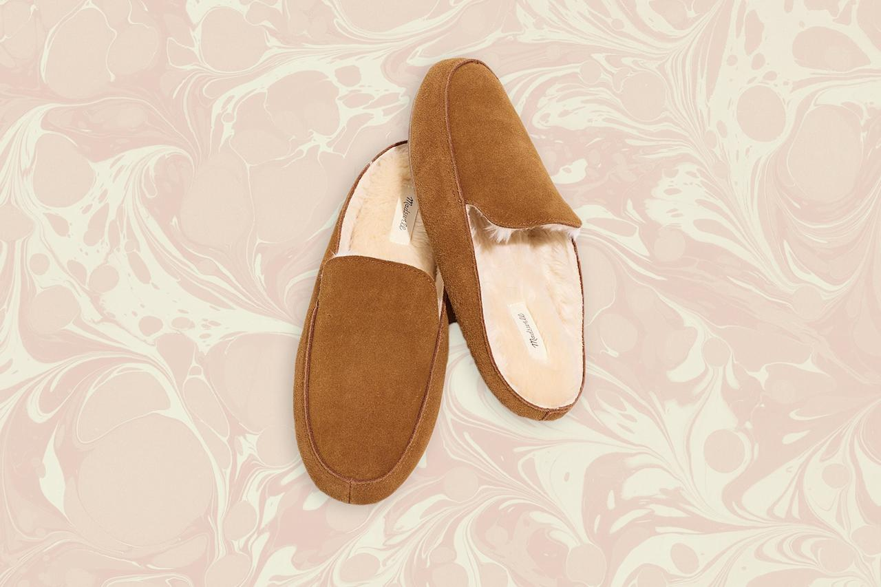 """<p>While they feel cushy enough to wear around the house, these faux fur–lined slippers also function as actual footwear in a pinch thanks to their grooved rubber soles. Slip them on once you've boarded the plane to make things feel that bit more cozy when cabin temps drop.</p> <p><strong>Buy now:</strong> $39.50, <a href=""""https://fave.co/32ztSrq"""" rel=""""nofollow"""">madewell.com</a></p>"""