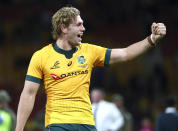 Australia's Ned Hanigan gestures following during the Bledisloe rugby test between Australia and New Zealand at Suncorp Stadium, Brisbane, Australia, Saturday, Nov.7, 2020. (AP Photo/Tertius Pickard)