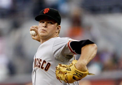 San Francisco Giants starting pitcher Matt Cain, who did not allow a hit until the fifth inning, pitches aganst the San Diego Padres in the Giants 9-1 victory in a baseball game Friday, Aug. 17, 2012 in San Diego. Cain pitched eight innings and allowed only one run and four hits while striking out six in the Giants 10-1 victory. (AP Photo/Lenny Ignelzi)
