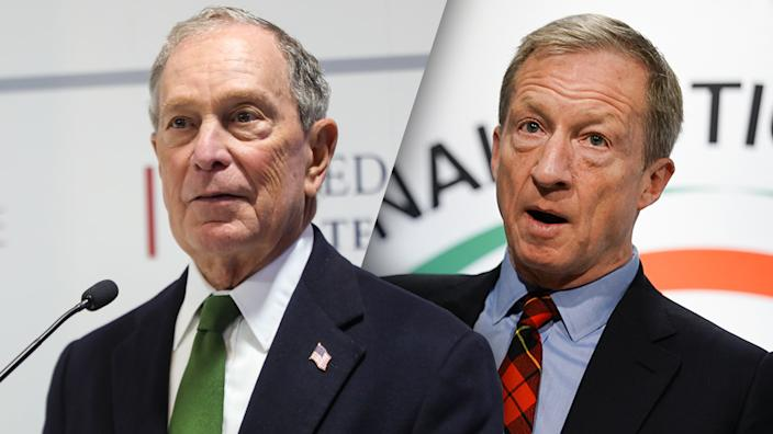 Michael Bloomberg and Tom Steyer. (Photos: Europa Press News via Getty Images, Elijah Nouvelage/Getty Images)