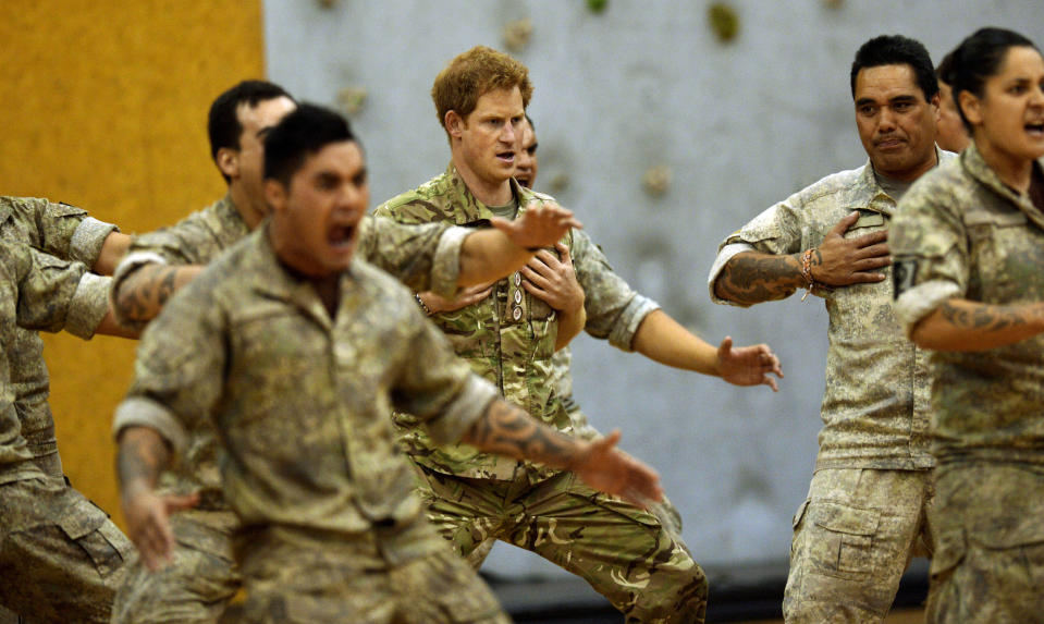 Prince Harry performs the New Zealand Haka at Linton Military Camp, near Palmerston North, during his tour in 2015 (PA)
