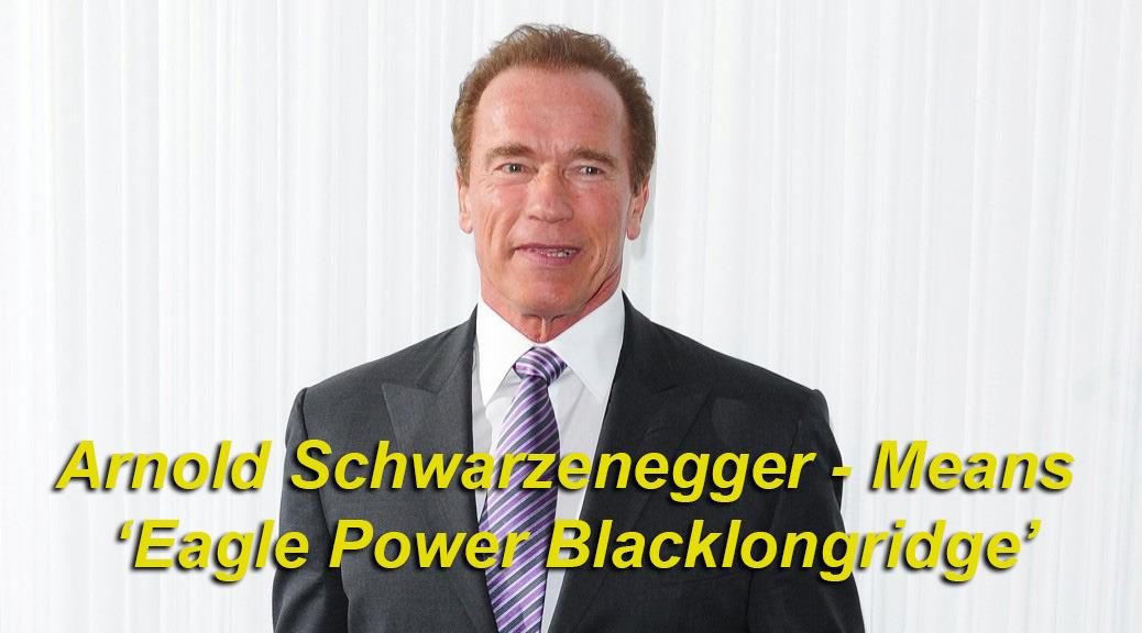 Arnold Schwarzenegger means 'Eagle Power Blacklongridge' - Arnold, derived from the German meaning 'eagle power', and Schwarzenegger, meaning 'black' (Schwarz) and 'egger', from the word 'eggli' or a 'long ridge'. Eagle Power Blacklongridge has a ring to it.