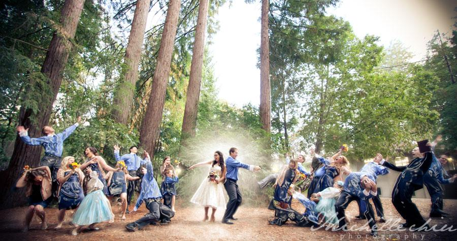 "<div class=""caption-credit""> Photo by: Michelle Chiu Photography</div><div class=""caption-title"">Movie-Inspired</div>This couple cast a spell on their bridesmaids and groomsmen, Harry Potter-style. <a rel=""nofollow"" href=""http://www.bridalguide.com/blogs/bridal-buzz/harry-potter-theme-weddings""><b>Related: Amazing Harry Potter-Inspired Weddings</b></a>"