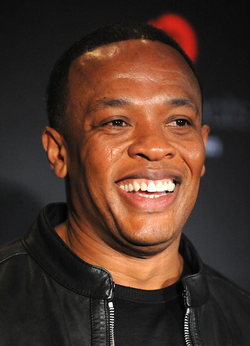 FILE - In this Sept. 30, 2009 file photo, Dr. Dre poses for pictures at a press conference announcing, Heartbeats by Lady Gaga, the latest addition to the Beats by Dr. Dre family of headphones from Monster Cable, in New York. (AP Photo/Peter Kramer, File)