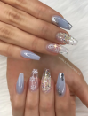"<p>Here, <a href=""https://www.instagram.com/nails_makeupbyiliae/"" rel=""nofollow noopener"" target=""_blank"" data-ylk=""slk:nail artist Enid"" class=""link rapid-noclick-resp"">nail artist Enid</a> creates an ode to the movie <em>Frozen </em>with pale blue and silver accents.</p><p><a class=""link rapid-noclick-resp"" href=""https://go.redirectingat.com?id=74968X1596630&url=https%3A%2F%2Fwww.etsy.com%2Flisting%2F800615001%2Fombre-blue-silver-glitter-press-on-nails&sref=https%3A%2F%2Fwww.oprahmag.com%2Fbeauty%2Fg34113691%2Fchristmas-nail-ideas%2F"" rel=""nofollow noopener"" target=""_blank"" data-ylk=""slk:SHOP JELLY NAILS"">SHOP JELLY NAILS</a></p>"