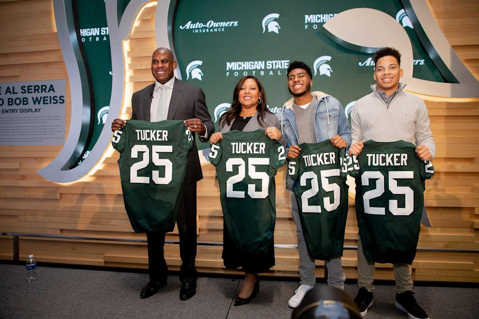 Mel Tucker posed with his wife JoEllyn and children Christian and Joseph as Tucker was introduced as MSU's football coach on Feb. 12.