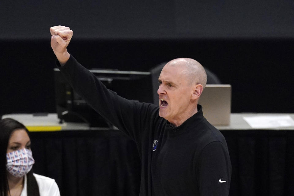 Dallas Mavericks head coach Rick Carlisle gestures during the first half in Game 5 of an NBA basketball first-round playoff series against the Los Angeles Clippers Wednesday, June 2, 2021, in Los Angeles. (AP Photo/Mark J. Terrill)