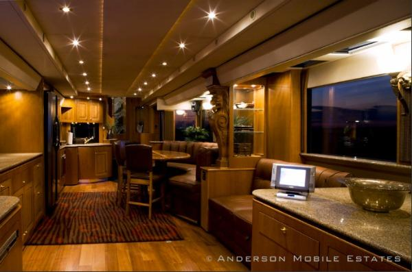 Check out the interior of Ashton's mansion on wheels (Anderson Mobile Estates)