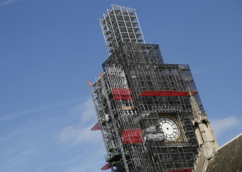 "FILE - In this Tuesday, April 17, 2018 file photo, scaffolding surrounds the Queen Elizabeth Tower, which holds the bell known as Big Ben, in London. The bell of Britain's Parliament has been largely silent since 2017 while its iconic clock tower undergoes four years of repairs. Brexit-backing lawmakers are campaigning for it to strike at the moment Britain leaves the European Union -- 11 p.m. (2300GMT) on Jan. 31. Parliamentary officials say it is not worth the cost, which could come to 500,000 pounds ($650,000). The House of Commons Commission said Tuesday, Jan. 14, 2020 that because the clock mechanism has been dismantled and the belfry is currently getting a new floor, arranging for the bell to ring ""could result in huge costs to the public purse."" (AP Photo/Alastair Grant, file)"