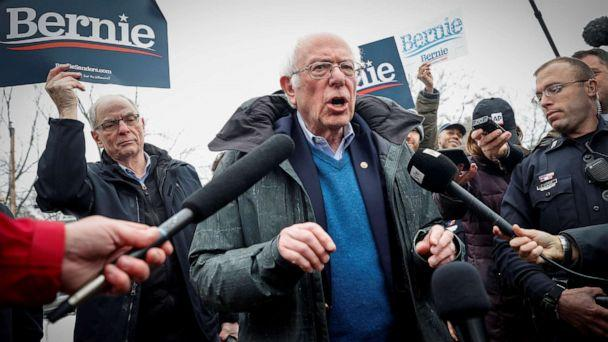 PHOTO: Democratic presidential candidate Senator Bernie Sanders speaks to the media at a polling station at the McDonough School during the New Hampshire presidential primary election in Manchester, N.H., Feb. 11, 2020. (Mike Segar/Reuters)