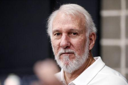 FILE PHOTO: Sep 24, 2018; San Antonio, TX, USA; San Antonio Spurs head coach Gregg Popovich answers questions during media day at Spurs practice facility. Mandatory Credit: Soobum Im-USA TODAY Sports/File Photo