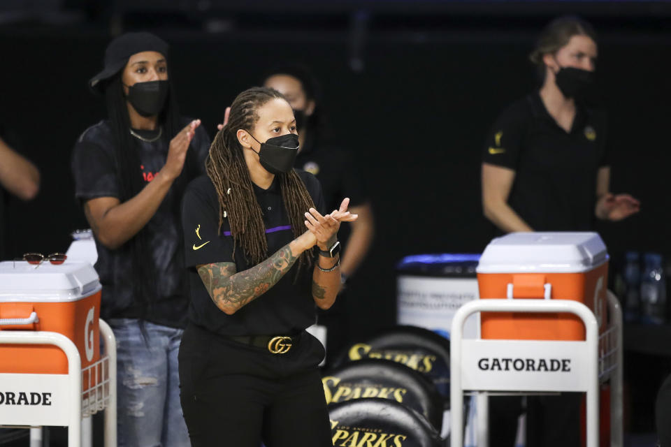 Los Angeles Sparks assistant coach Seimone Augustus returned to Target Center in Minnesota this weekend. (Meg Oliphant/Getty Images)