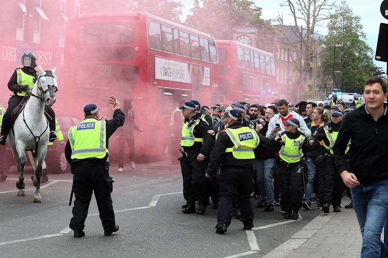 Arrests: Police tried to keep rival fans apart at the heated match: Rex Features