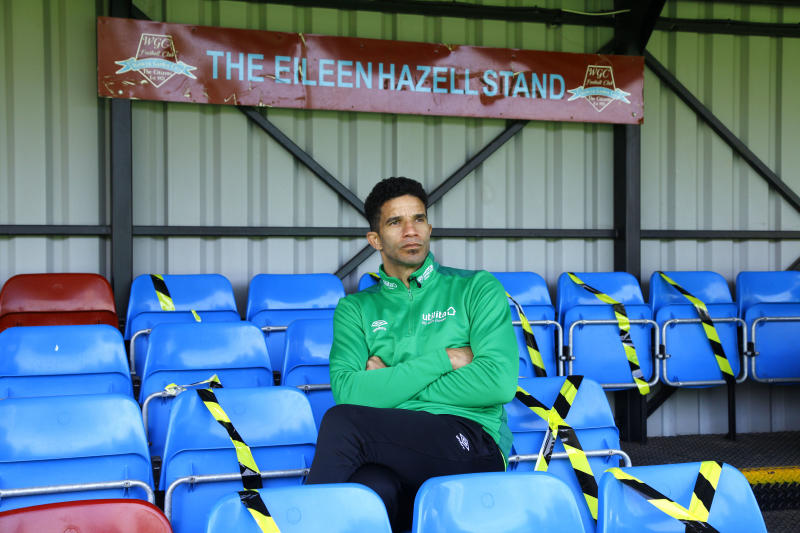 Former England goalkeeper David James visited the home of Welwyn Garden City FC to raise awareness of the effect Covid-19 is having on grassroots football.