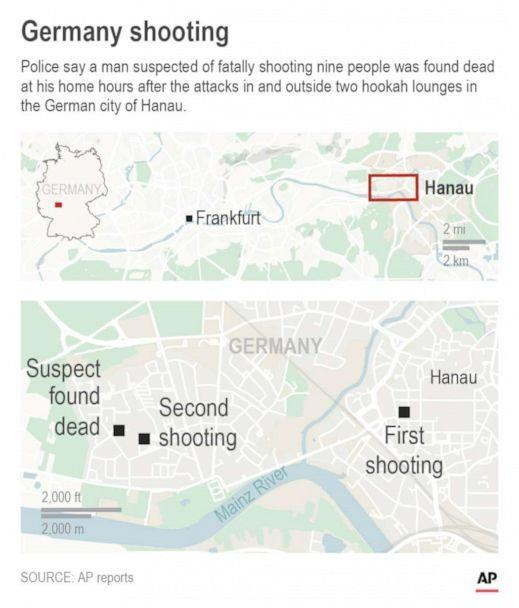 PHOTO: Map shows the location of the shootings in Hanau, Germany. (AP)