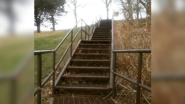 The top of these steps mark the peak of Suicide Hill in Little River Park. The hill been given that name — unofficially — by people in the area. (Submitted by Kevan Donais - image credit)