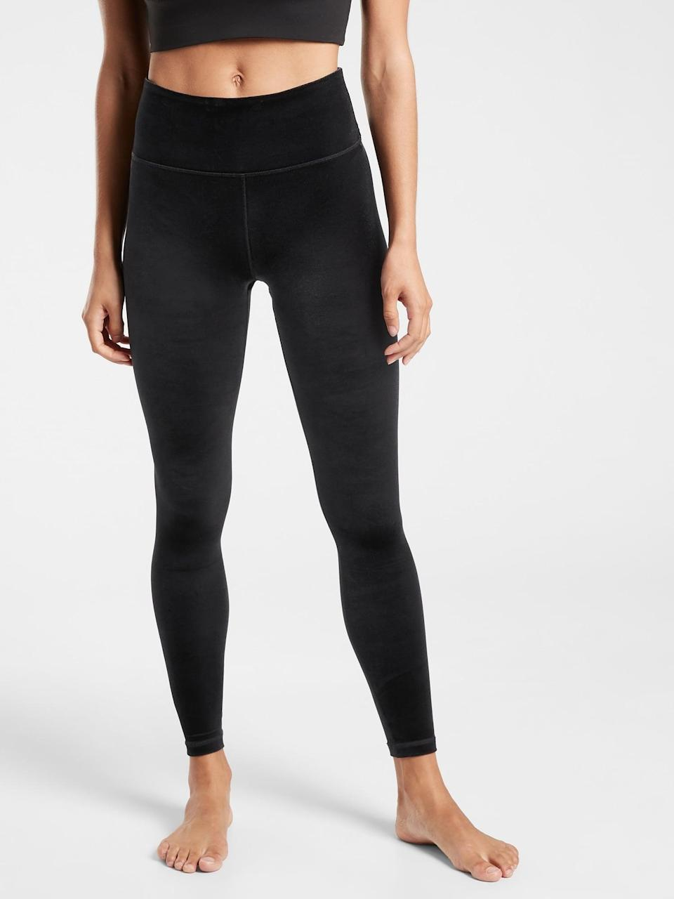 <p>Give the exercise lover in your life a little something extra with these <span>Athleta Elation Ultra High Rise Velvet Tights</span> ($89).</p>