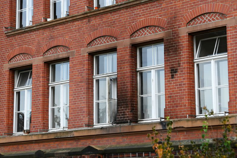 Broken window is pictured at the Robert Koch Institute (RKI) in Berlin