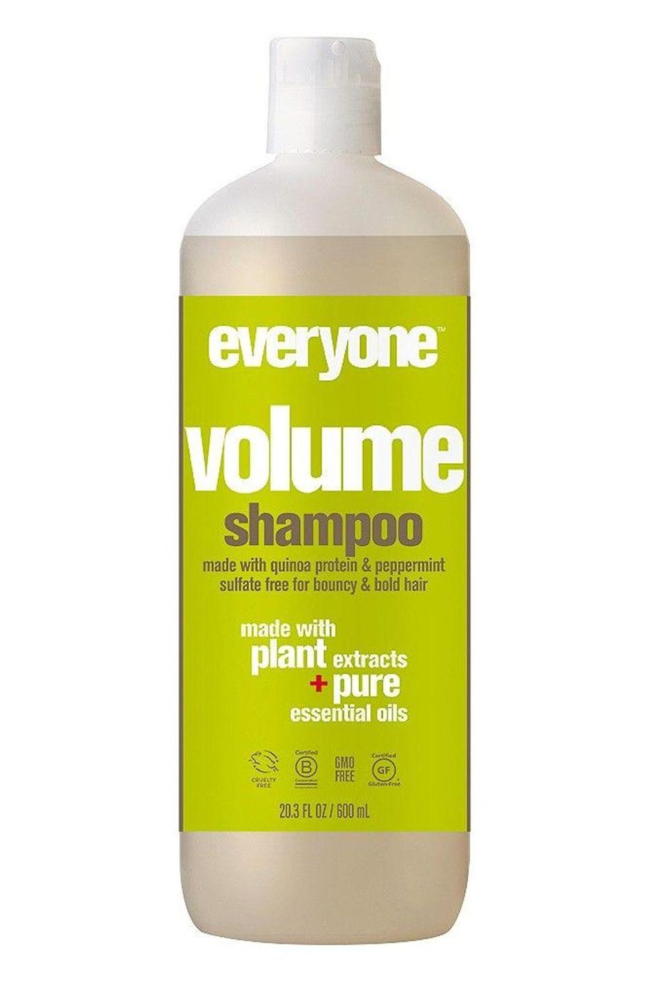 "<p><strong>everyone</strong></p><p>target.com</p><p><strong>$8.69</strong></p><p><a href=""https://www.target.com/p/everyone-volume-shampoo-20-3-fl-oz/-/A-21547148"" rel=""nofollow noopener"" target=""_blank"" data-ylk=""slk:Shop Now"" class=""link rapid-noclick-resp"">Shop Now</a></p><p><a href=""https://www.cosmopolitan.com/style-beauty/beauty/a19642775/fine-hair-styling-tips/"" rel=""nofollow noopener"" target=""_blank"" data-ylk=""slk:Fine, flat hair"" class=""link rapid-noclick-resp"">Fine, flat hair</a> will love the volumizing effects of this organic shampoo. It uses a blend of quinoa protein (a vegan alternative to keratin) and energizing peppermint extract to <strong>plump up the hair shaft will stimulate your scalp for fuller, thicker-looking hair</strong>. And the formula isn't just organic—it's GMO-free, gluten-free, and cruelty-free too.</p>"