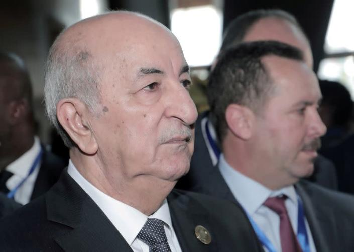 FILE PHOTO: Algerian President Abdelmadjid Tebboune arrives for the opening of the 33rd Ordinary Session of the Assembly of the Heads of State and the Government of the African Union (AU) in Addis Ababa