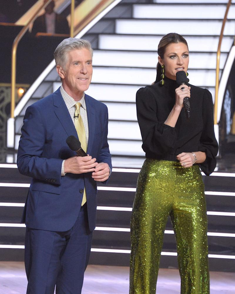 "Tom Bergeron and Erin Andrews host an October 2019 episode of ""Dancing with the Stars."" (Photo: Eric McCandless/ABC via Getty Images)"