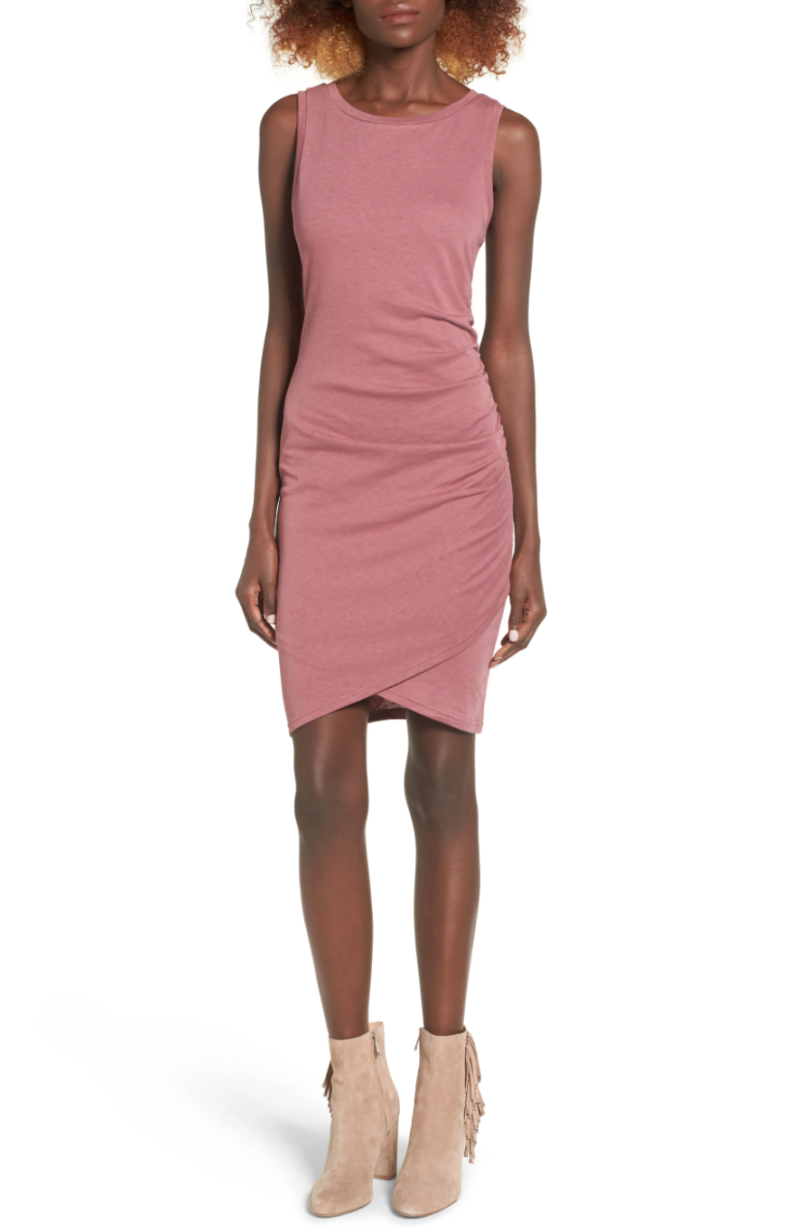 Leith Ruched Body-Con Tank Dress in Burgundy Rose. Image via Nordstrom.