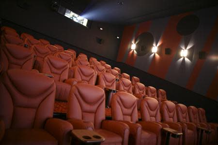 General view of the interior of a screening room at a Cinema City International movie theatre in Krakow