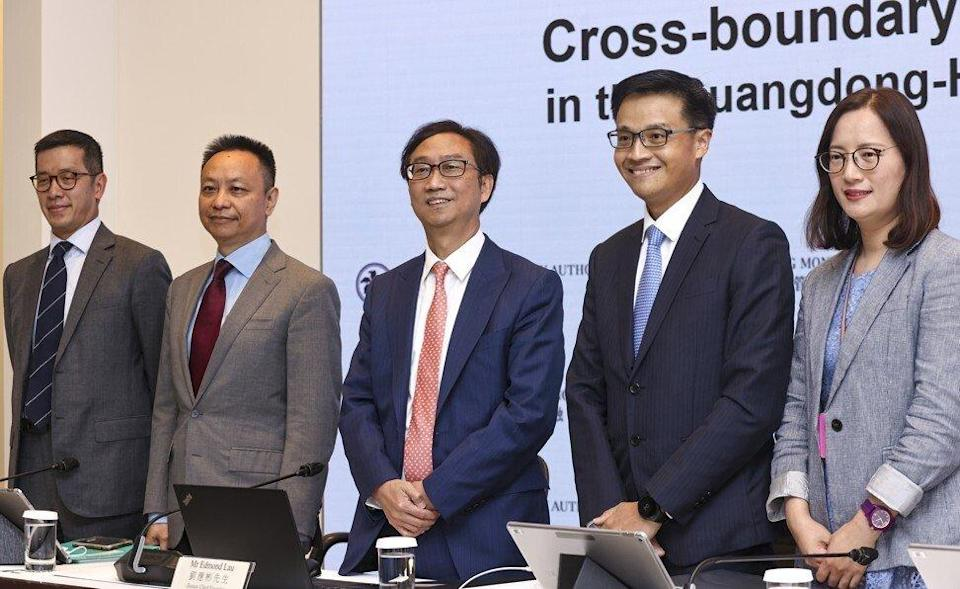 The Hong Kong Monetary Authority's deputy CEO Edmond Lau (centre) at the press conference announcing the Wealth Management Connect scheme in the GBA on 10 September 2021. Other attendees (left to right) are Senior Adviser Donald Chen; Executive Director Darryl Chan; Executive Director Alan Au; and Head of Banking Conduct Florence To. Photo: K.Y. Cheng.