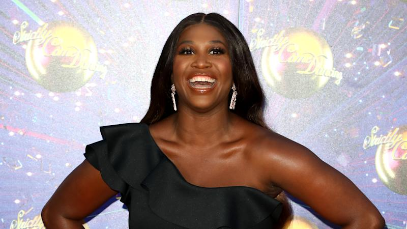 "Motsi Mabuse attends the ""Strictly Come Dancing"" launch show red carpet at Television Centre on August 26, 2019 in London, England. (Photo by Lia Toby/Getty Images)"