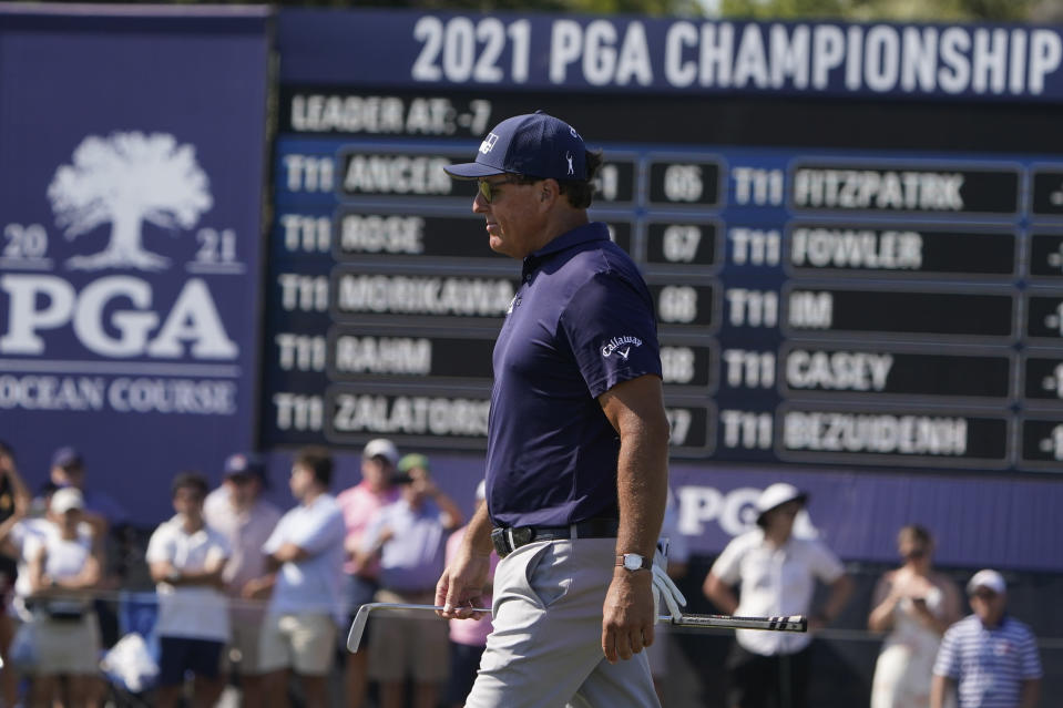 Phil Mickelson walks on the ninth hole during the final round at the PGA Championship golf tournament on the Ocean Course, Sunday, May 23, 2021, in Kiawah Island, S.C. (AP Photo/Chris Carlson)