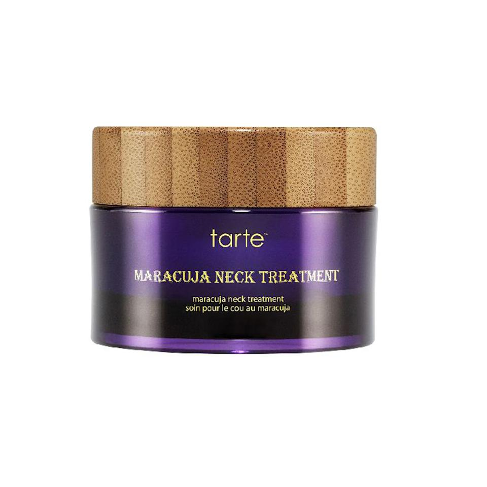 """<p>At first glance, this thick cream appears almost too heavy for the delicate décolleté; once applied, it absorbs almost instantly. The multitasking formula combines Tarte's signature marajuca oil, plus algae extracts to promote cell regeneration and help reduce the appearance of wrinkles.</p><p>$44 (<a rel=""""nofollow"""" href=""""http://www.sephora.com/maracuja-neck-treatment-P391902?mbid=synd_yahoobeauty"""">sephora.com</a>)</p>"""