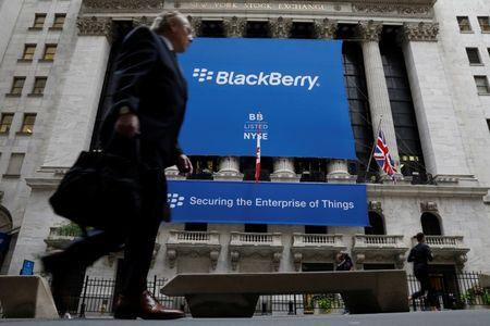 A banner for BlackBerry Ltd hangs to celebrate the company's transfer trading to the NYSE in New York