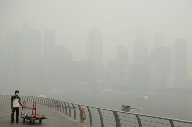 A worker wears a mask to protest from a haze blanketed the Singapore Central Business District, or CBD skyline in the background on Thursday, June 20, 2013. A smoky haze triggered by forest fires in neighboring Indonesia has caused air pollution to briefly hit its worst level in nearly 16 years in Singapore. (AP Photo/Joseph Nair)