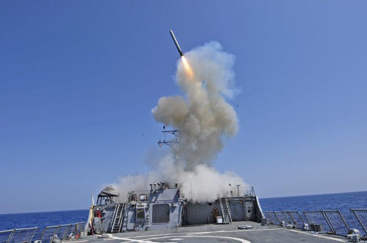 A Tomahawk cruise missile being fired from the USS Barry