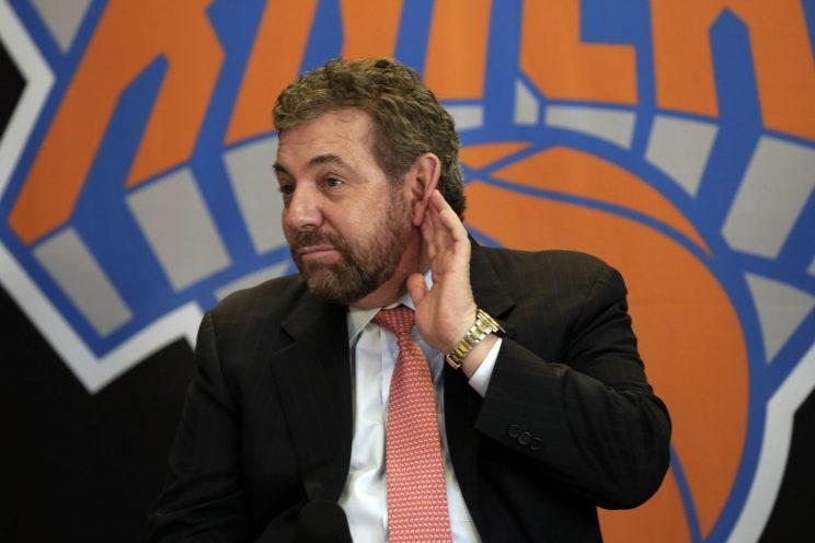 Knicks owner James Dolan can't hear you. (AP)