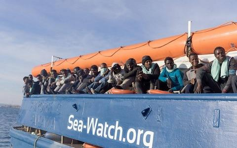 Migrants rescued by the NGO Sea Watch off the coast of North Africa - Credit: Paul Lovis Wagner