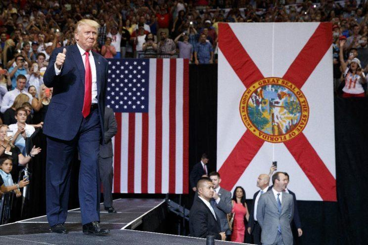 Donald Trump arrives at a campaign rally in Jacksonville, Fla. (Photo: Evan Vucci/AP)