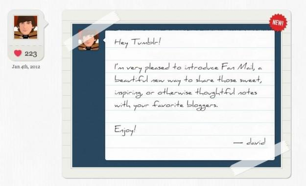 "Tumblr to add private messaging with ""Fan Mail"""