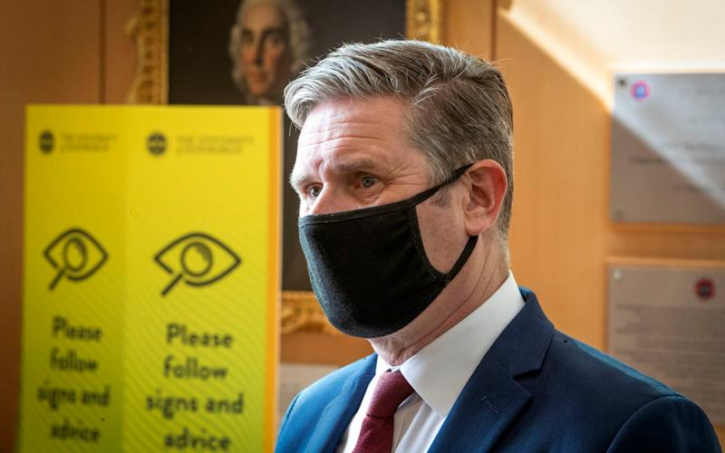 Labour leader Sir Keir Starmer wearing a face mask during a recent visit to the University of Edinburgh School of Medicine - Jane Barlow/PA Wire