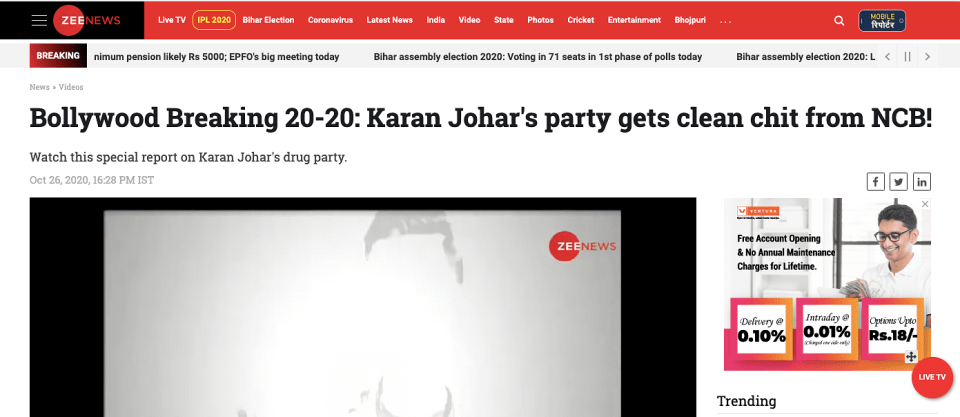 Headline claiming NCB has given a clean chit to the Karan Johar party video.