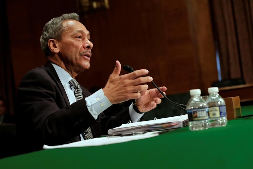 Federal Housing Finance Agency Director Mel Watt testifies before a Senate Banking Committee hearing on May 11, 2017. REUTERS/Yuri Gripas