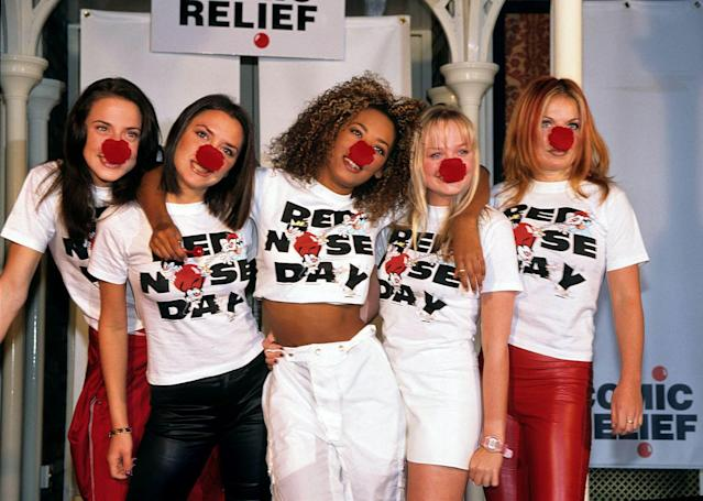 Victoria Beckham, Mel C, Emma Bunton, geri Halliwell and Mel B from The Spice Girls Comic Relief Red Nose Day, London, February 1 1997 (Photo by Fred Duval/FilmMagic)