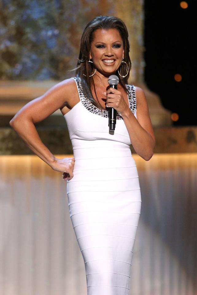 "Vanessa Williams showed off her singing and dancing chops while hosting the 36th annual Daytime Emmy Awards on Sunday. During the course of the evening, the ""Ugly Betty"" star rocked several different gowns, including this fabulous form-fitting frock by Herve Leger. John Shearer/<a href=""http://www.gettyimages.com/"" target=""new"">GettyImages.com</a> - August 30, 2009"